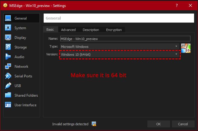 virtualbox selecting correct vm settings x64