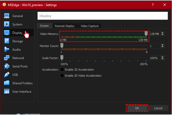 virtualbox virtual machine changing settings